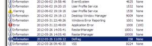 Windows Event Log with Error, Warning, Info