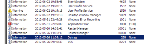 Windows Event Log with Error, Warning, Info